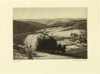 A loaded hay wagon descends a steep hill toward a barn in the right middle distance. A farmer walks nearby in the left ofreground. Distant rolling hills.