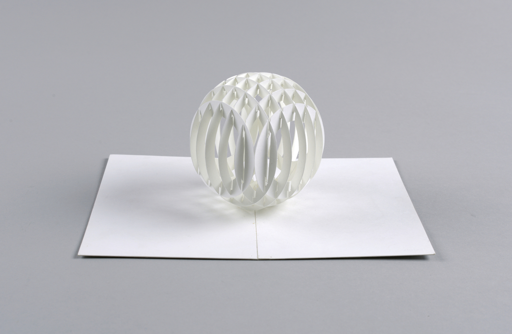 Kirigami architectural rendering of a sphere.