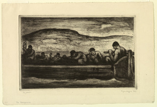horizontal rectangle - a group of dejected figures is seen huddling in a large open boat being steered by a large man at the tiller, right - low hills in the background.