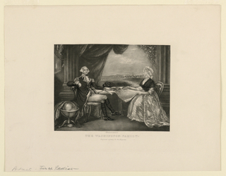 Shown seated at a table on which is spread an open book and a map are George Washington (1732-1799) and his wife, Martha Dandridge Custis Washington (1732-1802). A drapery is drawn back to the rear revealing a military encampment and a town.