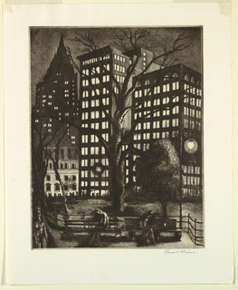 Two figures are seated on park benches, and a third strolls at the left. Street lights and tall buildings in the background are illuminated. Likely a view of Madison Square, New York City, at night.
