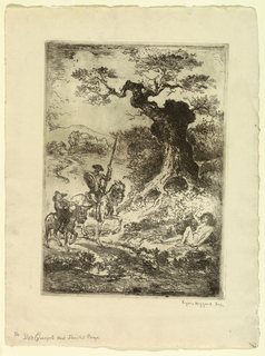 vertical rectangle - Don Quixote and Sancho Panza are seen riding through an open landscape - near a gnarled tree they approach a nude figure lying on the ground and waving to them.