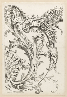 Large shell motifs decorated with bandwork. Acanthus leaves, floral garlands, and small leafy sprays intertwine with the shells.