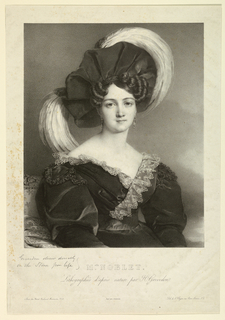 "Vertical rectangle. Three-quarter length portrait of a woman facing the spectator, the figure turned slightly to the right. She wears a large draped hat trimmed with bird-of-paradise plumes. Printed below: ""Melle NOBLET./ Lithographiées d'après nature par H. Gevedon."""