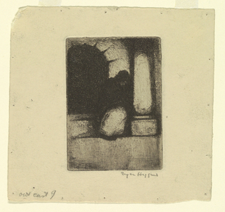 vertical rectangle - an old woman sits dejectedly in a stone doorway, leaning against a column.