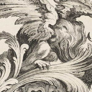 Print, Winged Griffin on a Rocaille Bracket, Plate 6, Première Partie divers Ornements (Various Ornament Designs, Part One)