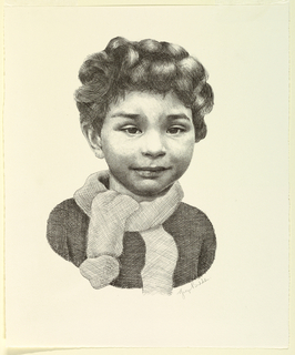 Bust-length portrait of a small boy, seen frontally, wearing a scarf.