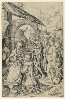 The Virgin is seated in the foreground, left, holding the Child on her knees. One of the Magi kneels before them, shown facing left, in profile. The two other Magi, and their servants, are in the background, right. A dog, at lower right. Monogram of Schongauer, lower center.