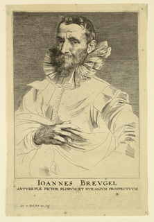 Portrait of a bearded man, turned toward the left, looking out at the spectator. He wears a large collar, and his right hand is visible, holding the folds of his cloak.