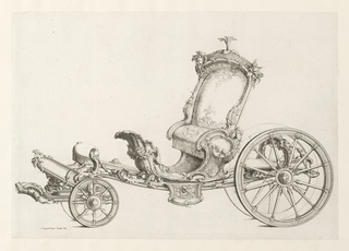 Design for an elaborate Cabriolet in the Rococo manner.  Cabriolet is covered with floral ornament with two masks carved into it.  At the front, beneath the driver's seat, on sees what is either a tray or mirror.  Behind the passenger's seat, there is space for storage.