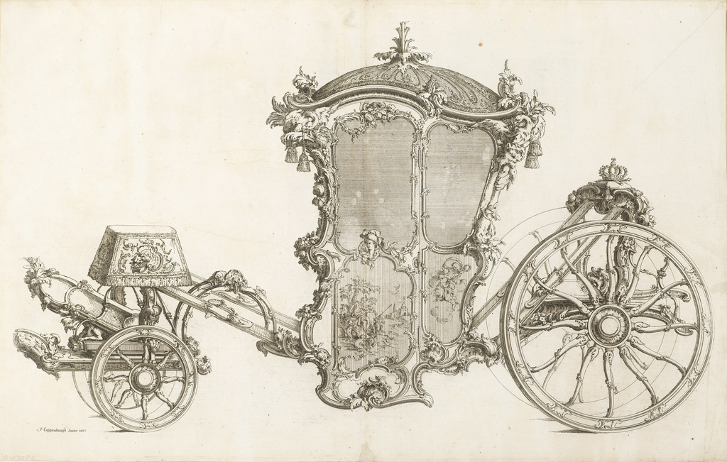 Design for a carriage.  The roof of the coach is dome-shaped with tassels hanging down.  Plant ornament encompasses the coach from its door to its wheels.  At the back of the coach, where the driver would presumably sit, a crown and possibly a riding crop are set upon a cushion.  At the front of the coach, there are various household objects like a lamp and ornate, framed mirror.  The carriage's door has a screen-like window, and below this, a framed pastoral scene.