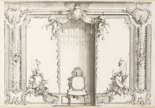Interior with throne-like chair at center. Portrait on back of chair framed by halo with flowers and sunrays; chair shaped with leaves, flanked by large escutcheons heavily decorated with plumed helmets, axes, bows and arrows, flags, musical instruments, and putti. Above chair, canopy with draping lines and foliage. All interior framed with curved molding, scenes with putti, and candles.