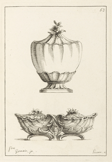 Two objects: lower, double bowl made by large shells with lids, an X above a shield with stars and crown divides the bowls. Above, tureen with gourd-like appearance with shell-shaped lid and finial made of flowers. Foot is a shell.