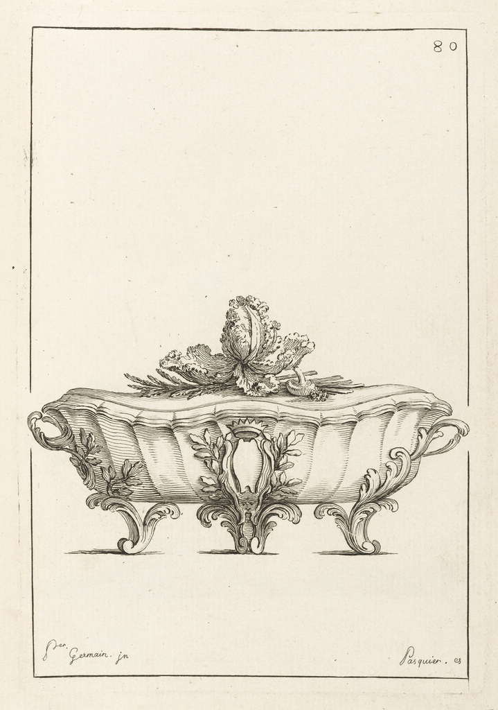 Tureen made of shell, with leaves for feet with cabbage and mushroom finial. Central ornament topped with crown.