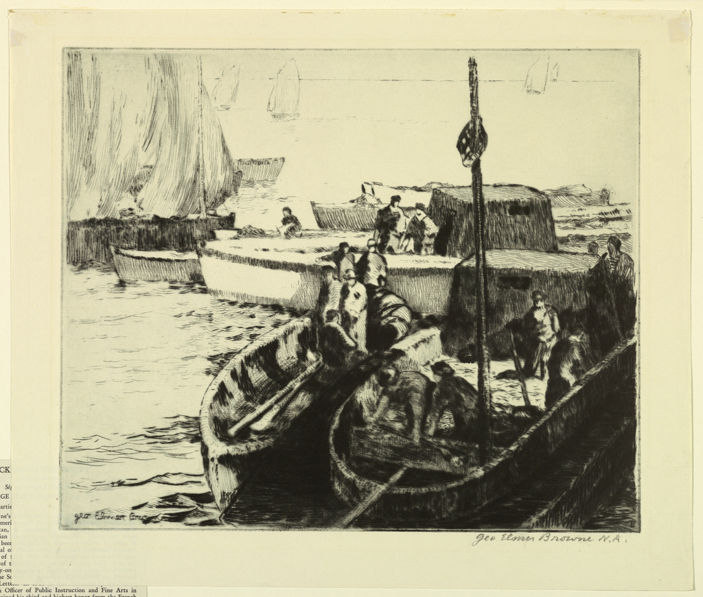 In the foreground, two fishing boats with figures. Additional boats in harbor beyond.