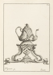 Print, Cabares (Teapot), plate 84, in Elements d'Orfevrerie (Elements of Goldsmithing), Second Part