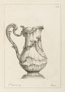 Pitcher made of shells and rinceaux wrapped around, with partial crown on right.