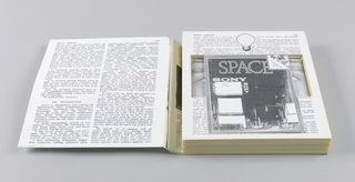 As a working copy, this object shows the development of the Chiat/Day self-promotion project, SONY Space. The case is covered by one page of text, recto and verso. A third page of text is incised to hold a booklet, a videocassette (not included) and case, and an audiocassette (not included), case, and case liner. The black and white booklet cover, with a grey border, is composed of a nighttime street scene with electrified signs; the top right-hand corner is turned down and is imprinted Advertising and Nothing But, with a crowd of people behind. SPACE is imprinted in large type across the upper part; SONY is imprinted immediately below on the left, once horizontally and twice vertically, surrounding a white rectangular space. There are two additional blanks in white below the Sony area and two smaller white blanks on the lower right. The videocassette case reproduces a photograph of the upper part of a face, showing eyes and brows. Chiat Day Mojo's Greates Hits-A tape that will forever prove that commercials are better than T.V. shows is imprinted across the top. The audiocassette case liner reproduces a partial profile view of a man's face,, showing an ear and hair. Radio is imprinted on the left and What it would sound like if Chiat Day Mojo was the world's only agency on the right.