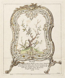 Screen is framed with curved ornament and rinceaux motif. Image depicts small leaf and fruit-bearing tree with two birds.