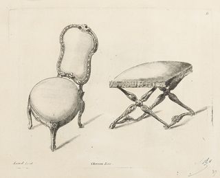 Left, chair with curved legs and back; right, cross-legged stool, tassels on cushion.
