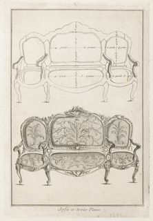 Upper half: diagram and scale of three-seated sofa in outline. Lower half: three-seated sofa with curved legs and sculpted frame in floral motif. Symmetrical floral pattern cushions.