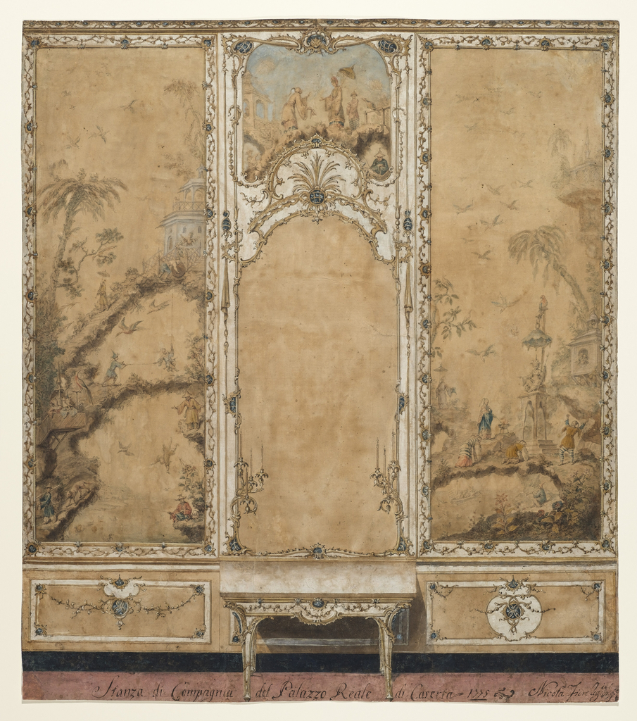 Divided into three panels. In front of the dado of the central panel is a console table. Above  is a mirror with a candle bracket with four candles at either side. On top is a panel with a Chinese scene. The lateral panels are intended to have a dado and a rectangularly framed oblong Chinese representation, country scenes at left with small house in upper right of panel and figures, worship of an idol at right. Above is the lower part of the enablature.