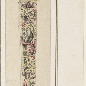 Visible edge includes design with overall vegetal motif, interspersed with two birds. The handle of the fan is mainly undecorated, with one small flower depicted at bottom.