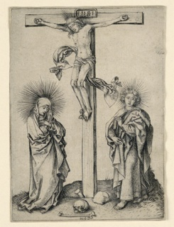Vertical rectangle showing Christ on the cross, his body turned toward the left. The Virgin stands to his left; St. John at right.