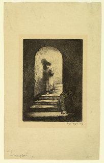 vertical rectangle - a woman, in her night-dress and barefooted, is seen descending a vaulted staircase, with a candle in her hand - below in shadow, a man is slouched