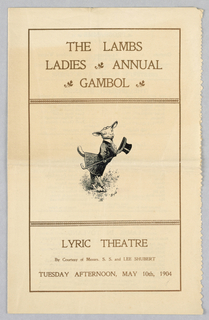 Program, The Lambs Ladies  Annual Gambol, Lyric Theatre, May 10, 1904