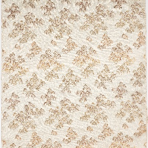 Formal maru obi of woven silk with a beige ground and small-scale pattern of pine trees in bronze-colored silk. Coarse orange cotton fabric is stitched to the end with a woven horizontal line (oridashi sen).