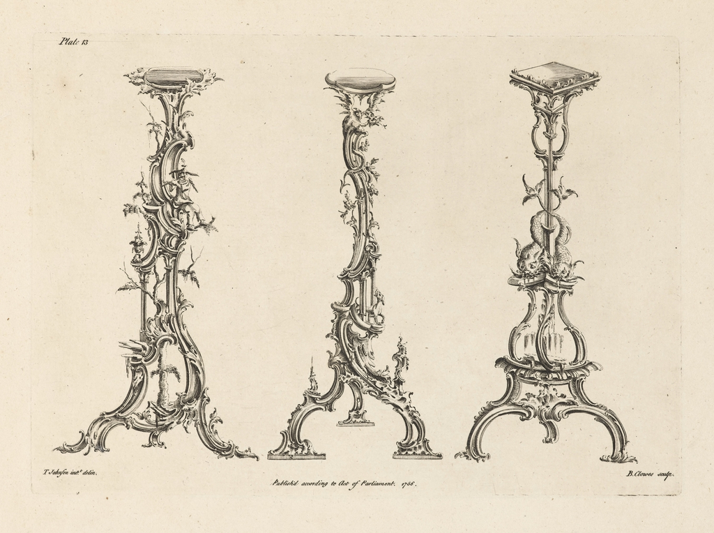 Three designs for torcheres in the Chinoiserie style. Right, scroll work, supporting two dolphins with intertwined tails. Center, heavy rocaille, with a dog where the legs intersect, and a dragon on top. Left, rocaille work, with tree branches and a flute player. Bottom, the artists' names and date.