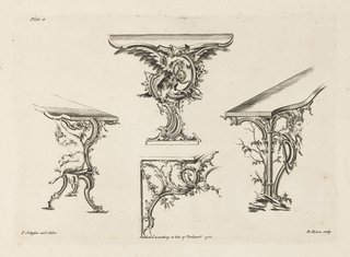 Four table leg designs; upper design shows a snake wrapped around neck of a hawk; left design: putto supports table; right design: head/mask/bust; lower design: bird with vines and rinceaux.