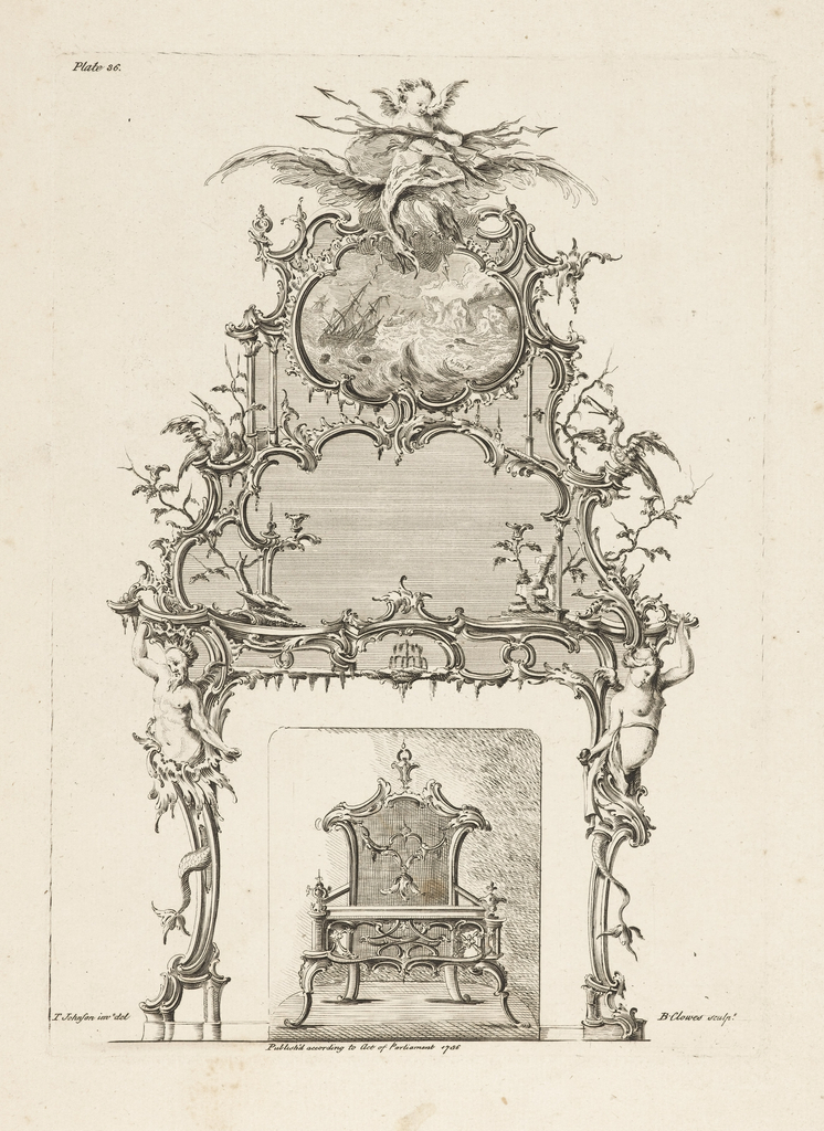 Design for a fireplace mantel and irons in the Chinoiserie style. Above, a putti astride a flying bird carrying lightning bolts. Directly below, a painting of a ship in a storm. Birds, tree branches and a marine caryatid below, at either side.