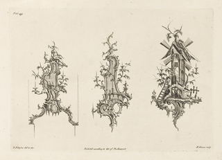 Three designs for wall sconces in the Chinoiserie style. Left: a Chinese man sits above branches and scrolls, a clock below and a candle right and left. At center:  A rocaille head, a candle, right and left center; Right: a small windmill with branches around and a mule below.