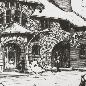 Photograph of drawing. Drawing depicts two sides of an art nouveau-style house set among trees and bushes, with figures. Walls of house are constructed with stones. A large tower resembles the form of a Japanese helmet.