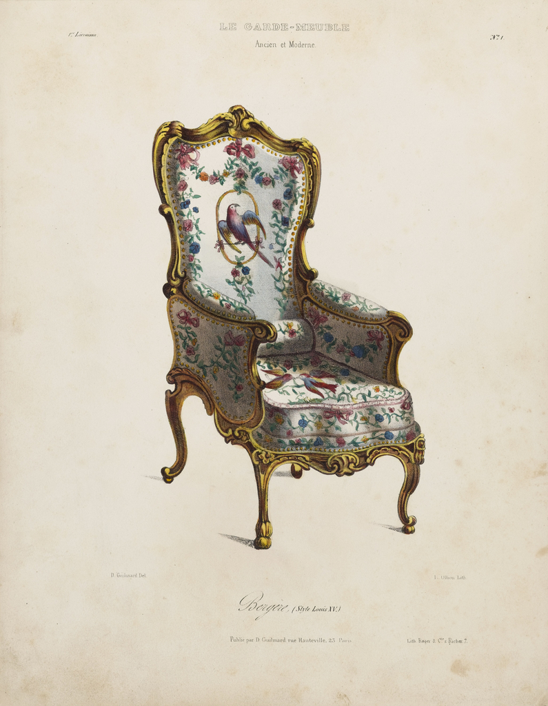 An armchair in upholstery decorated with colorful birds and flowers on white ground; gold painted wooden frame.