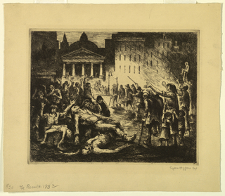 horizontal rectangle - a revolt is seen taking place in a city square before a classic portico - the participants appear to be beggars and cripples - night scene.