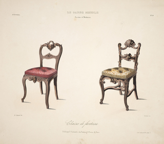 Design for two chairs. Left, red upholstery and rounded wooden frame; right, yellow upholstery and curved and curled wooden frame.