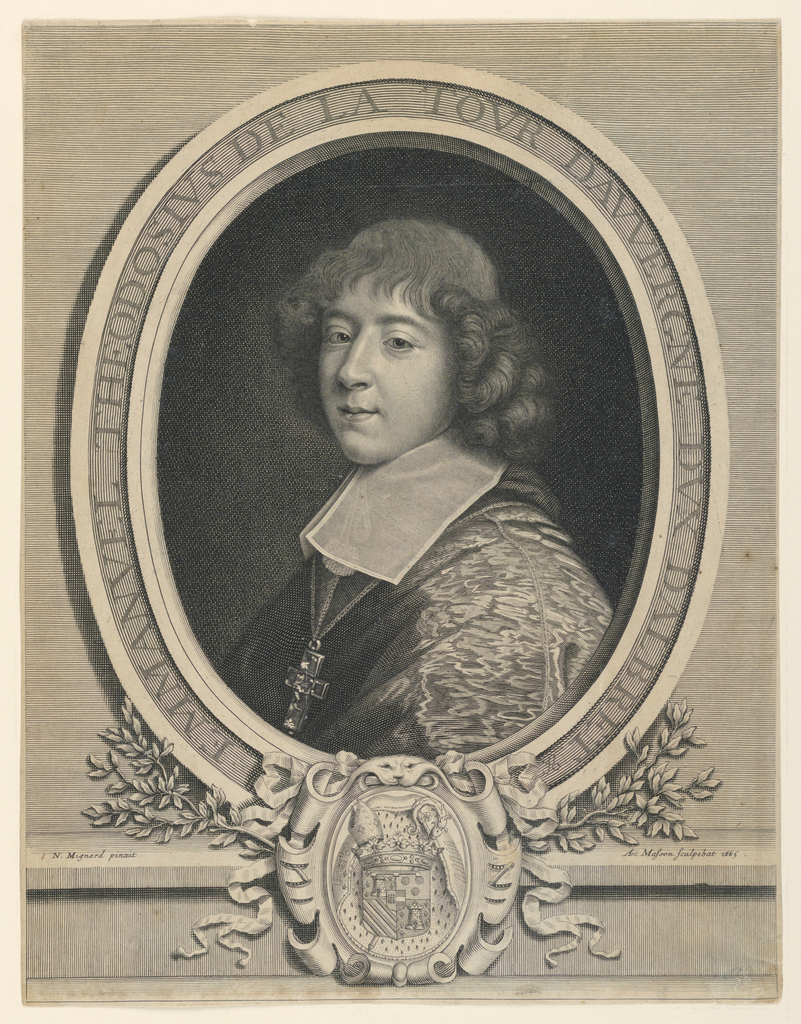 """Bust length portrait, turned toward the left, the head shown in three-quarter view, looking out at the spectator. Enclosed in oval frame. Coat of arms in escutcheon below. At lower left: """"N. Mignard pinxit."""" At lower right: """"Ant. Masson sculpebat 1665."""" Inscribed in frame: """"EMMANVEL THEODOSIVS DE LA TOUR DAVVERGNE DVX DALBRET.."""""""