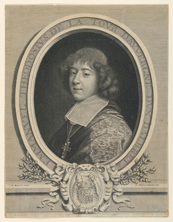 "Bust length portrait, turned toward the left, the head shown in three-quarter view, looking out at the spectator. Enclosed in oval frame. Coat of arms in escutcheon below. At lower left: ""N. Mignard pinxit."" At lower right: ""Ant. Masson sculpebat 1665."" Inscribed in frame: ""EMMANVEL THEODOSIVS DE LA TOUR DAVVERGNE DVX DALBRET.."""