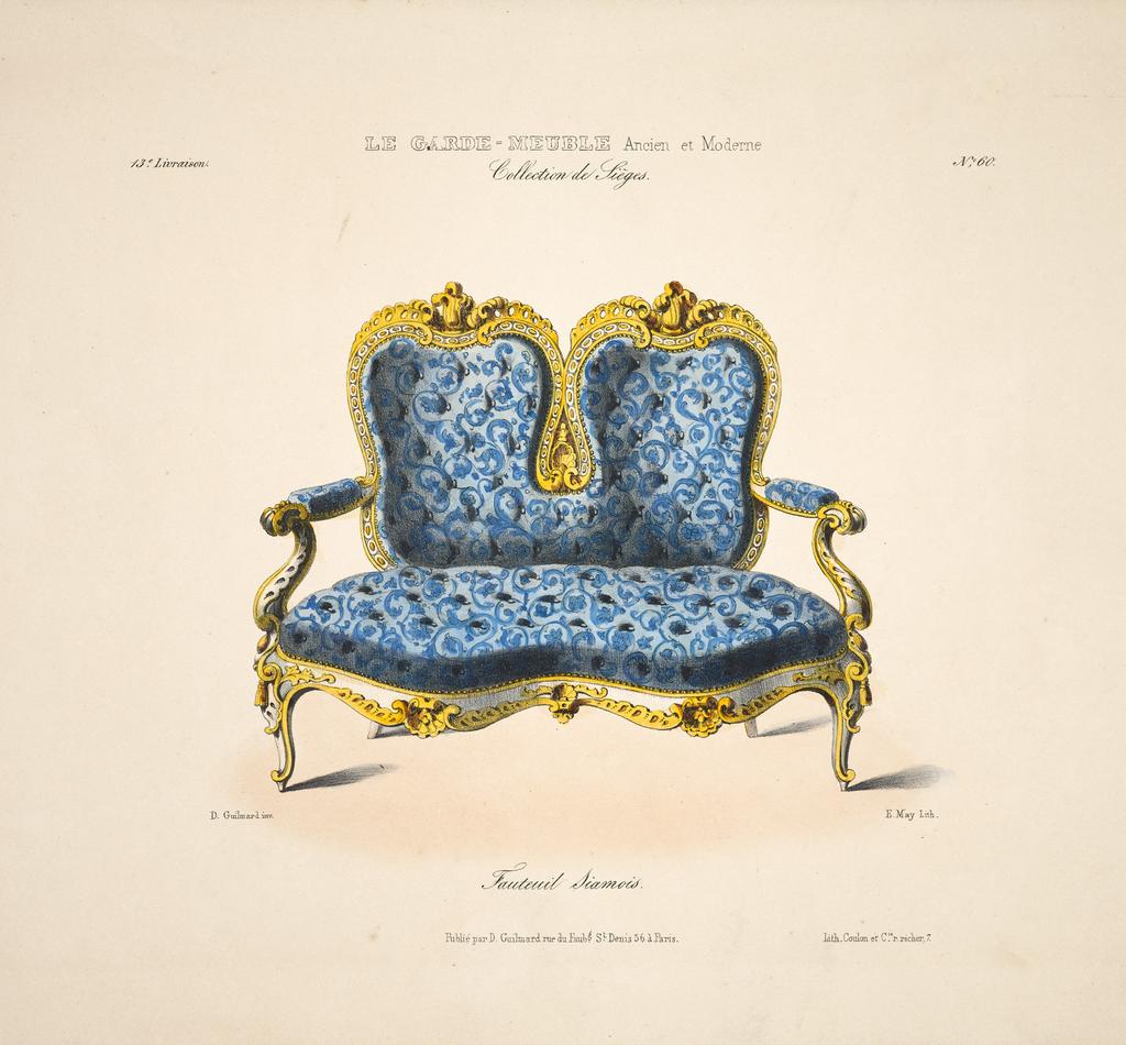 "Album Page, Fauteuil Siamois, ""Collection de Sieges,"" no. 60, in La Garde-Meuble (The Storehouse)"