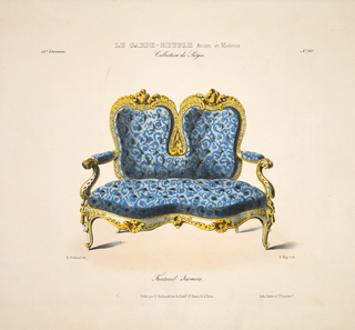 Design for a Siamese-style armchair with blue upholstery and gold-colored wooden frame.