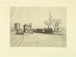A train with two freight cars and one passenger car is halted at a small station shed. Two box-cars and a silo at the left. Distant hills.