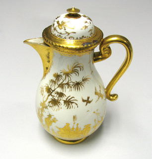 Pear-shaped, on rounded flaring circular foot, scrolled handle, simple triangular spout, domed cover with round finial. Solid gilding on foot, handle, spout, edge of mouth and cover, and finial. Engraved gilt chinoiserie decoration of figures, birds and trees, with scrollwork. Cover attached with siver-gilt mounting.