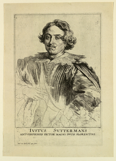 "Portrait of a man, facing the spectator, the figure turned slightly to the left. His hands are visible, the left one resting on his hip. Inscription below: ""IVSTVS SVTTERMAN S ANTVERPIENSIS PICTOR MAGNI DVCIS FLORENTINI."" At lower left: ""Ant. van Dyck fecit aqua forti."""