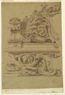 Vertical rectangle showing escutcheon in a pediment beside a cornucopia.