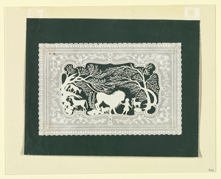 Embossed paper cut-out (possibly for a valentine) used as a frame for a silhouette showing a child with a tame lion, goats, and fox, with trees in the background.
