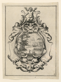 Cartouche, seen mounted by a winged Amor, above, and containing, within a central opening, a view of a forest lake with three figures and a dog in a boat.