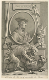 "Bust-length portrait in three-quarter view to the right.  The duke wears a beret and a coat with a fur collar. Portrait in oval frame standing on a pedestal, in front of which are a lion and a panther fighting.  Inscribed on the frame: ""Tiré du Cabinet de Mr. le Comte de Rieux."""